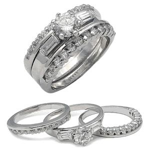 Triple Wedding Ring Set .925 Sterling Silver